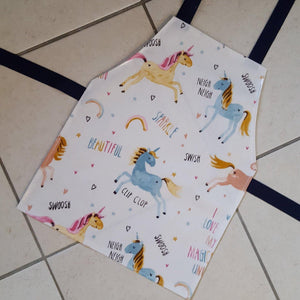 Wipe clean unicorn child's apron