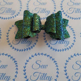 Peacock crystal textured bow - Sew Tilley