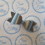 Grey and blue textured hair bow - Sew Tilley
