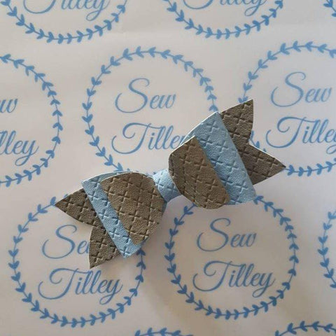 Grey and blue textured hair bow