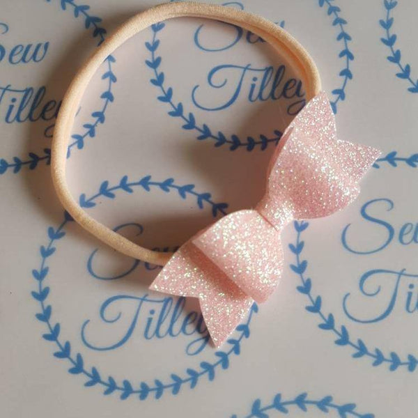 Small pink glitter hair band - Sew Tilley