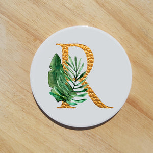 gold botanical tropical letter coaster