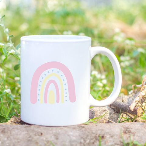 Pink rainbow mug by Sew Tilley