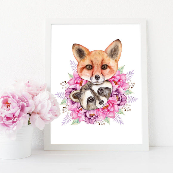 Raccoon and fox print