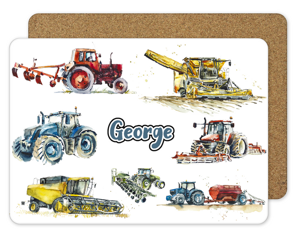 Tractor Placemat - Blue - Sew Tilley