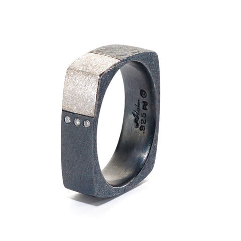 Alishan Mens Ring Oxidized Sterling Silver R119SS-PD