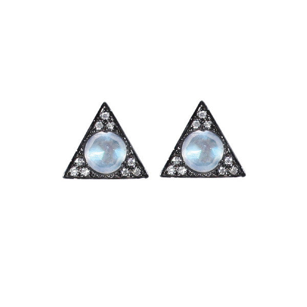 Moonstone Trillion Earrings