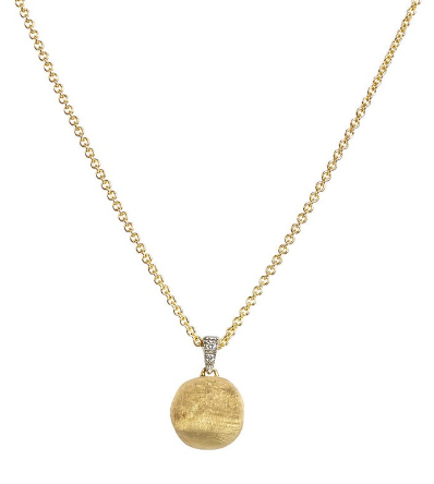 Delicati 18K Yellow Gold & Diamond Round Bead Pendant