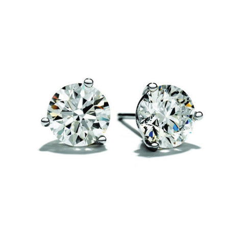 Three Prong Diamond Studs Earrings