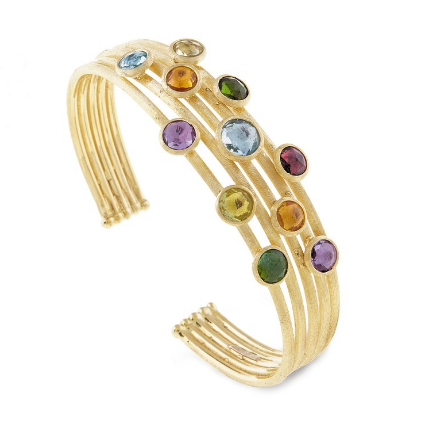 Jaipur 18K Yellow Gold Mixed Stone Five Strand Cuff