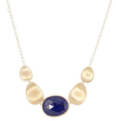 Lunaria 18K Yellow Gold & Lapis Graduated Necklace