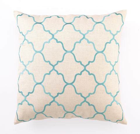 Moroccan Tile Pillow - Turquoise