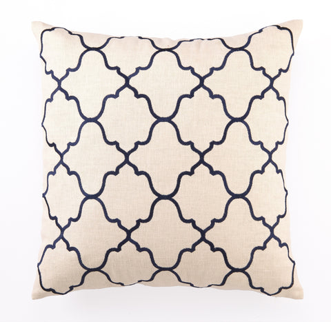 Moroccan Tile Pillow - Navy Blue