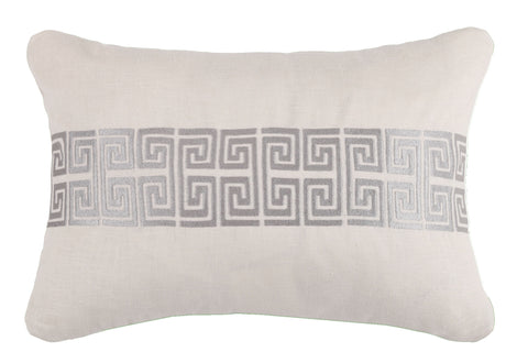 Mykonos Greek Key Pillow - Graphite