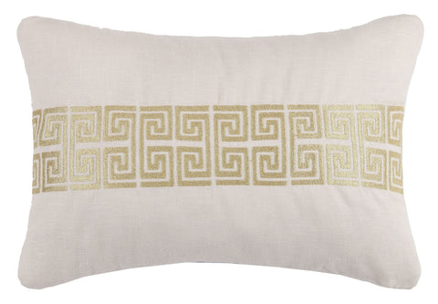 Mykonos Greek Key Pillow - Gold