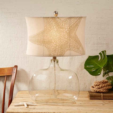 Glass Lamp with Linen Starfish Shade - Set of 2 - SOLD OUT
