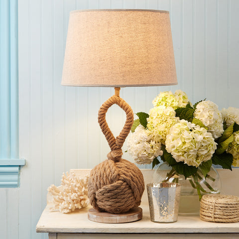 Rope Knot Lamp with Linen Shade - SOLD OUT!