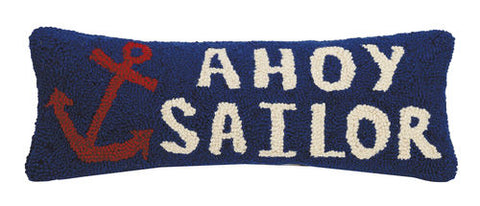 Ahoy Sailor Anchor Pillow