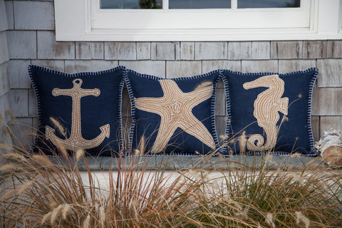 Navy Embroidered Nautical Pillow - The Beach Is Where I Belong