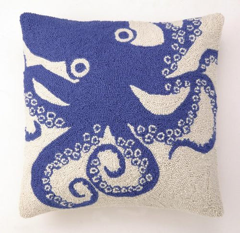 Octopus Hook Pillow - White/Blue