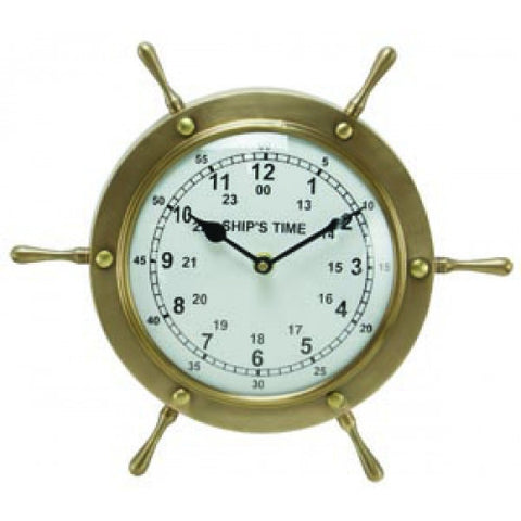 Antique Brass Ship Wheel Clock