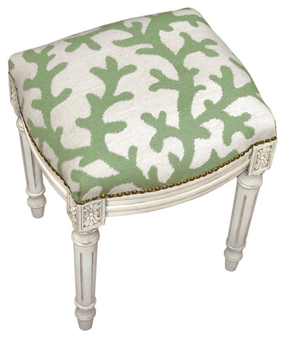 Coral Needlepoint Stool - Assorted Colors