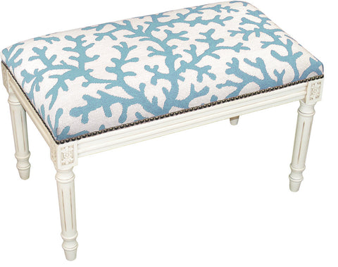 Coral Needlepoint Bench - Assorted Colors