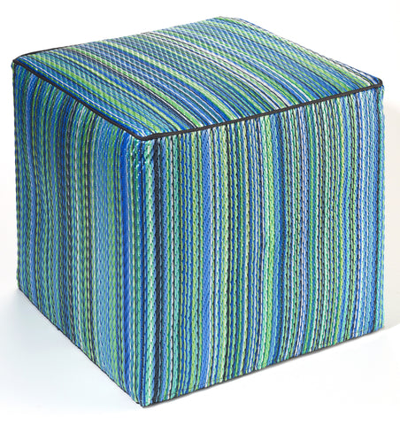 Cancun Indoor/Outdoor Cube - Turquoise & Moss Green -OUT OF STOCK