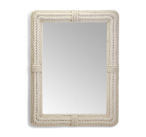 Coastal White Rope Rectangle Mirror