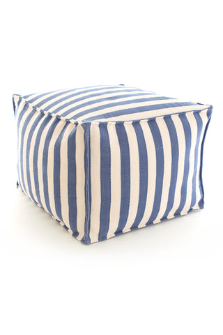 Trimaran Stripe Denim / Ivory Indoor Outdoor Pouf