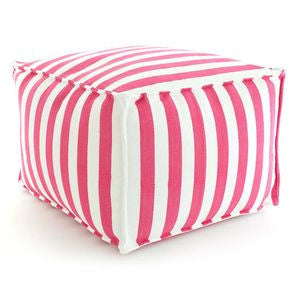 Trimaran Stripe Indoor/Outdoor Pouf - Sprout/Ivory