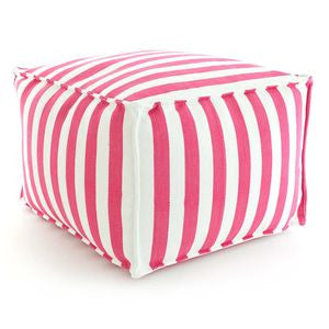 Trimaran Stripe Indoor/Outdoor Pouf - Fuchsia/White