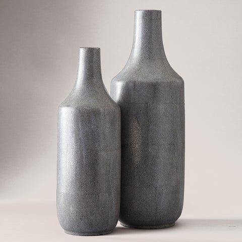Grey Shagreen Vases - Set of 2