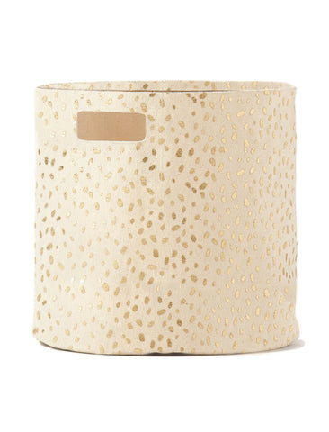 Gold Foil Speck Canvas Bin