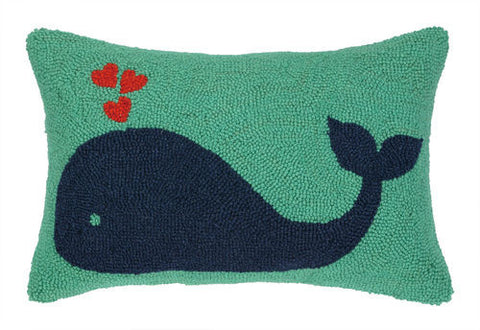 Whale Heart Hook Pillow - Navy/Green
