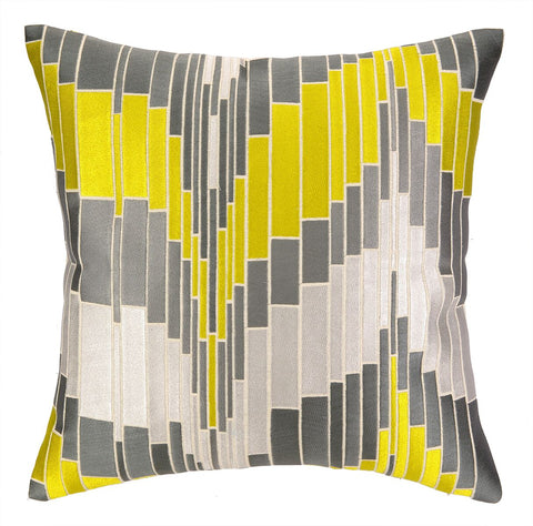 Trina Turk Loomis Pillow - Citron and Grey