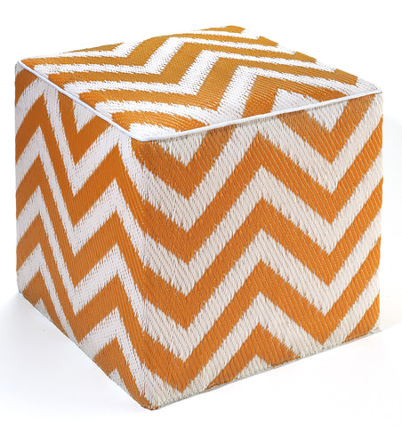 Laguna Indoor/Outdoor Cube - Orange Peel & White