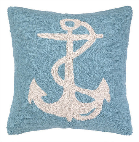 Large Anchor Hook Pillow - Light Blue/White