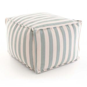 Trimaran Stripe Charcoal / Ivory Indoor Outdoor Pouf