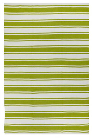 Lucky Indoor/Outdoor Rug - Green and White Stripe