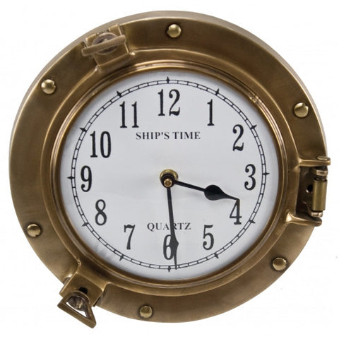 Antique Brass Porthole Clock