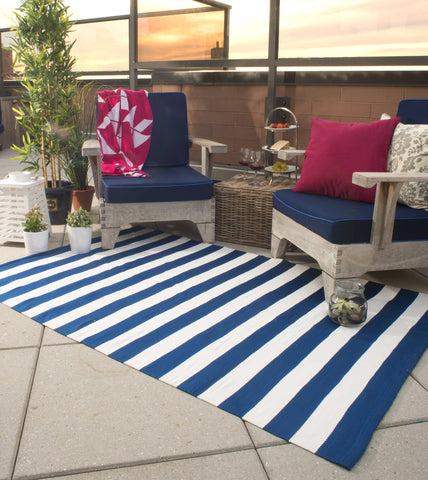 Nantucket Indoor/Outdoor Rug - Blue & White