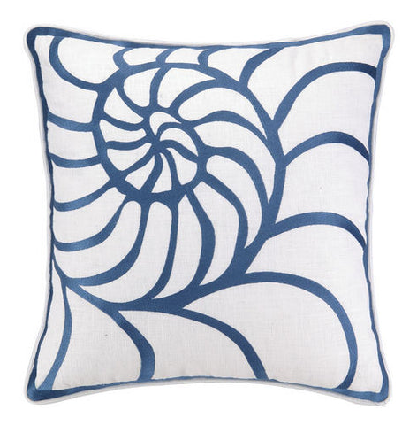 Embroidered Navy Nautilus Pillow