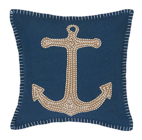 Navy Embroidered Nautical Pillows