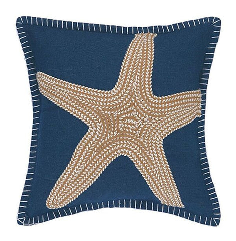 Navy Embroidered Nautical Pillow - Anchor