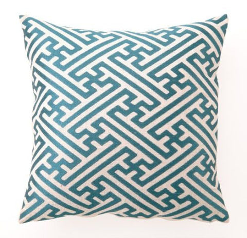 Cross Hatch Pillow - Teal Blue