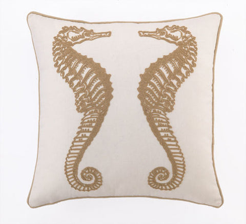 Golden Sea Horse Pillow