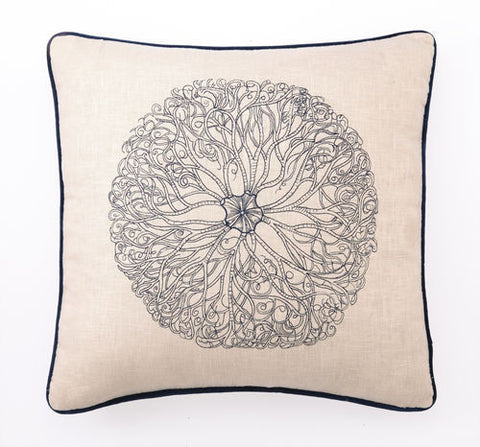 Embroidered Trochus Shell Pillow