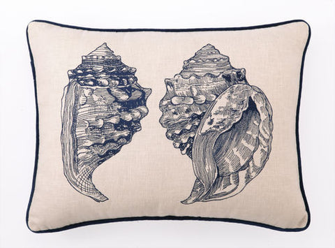 Embroidered Sea Life Pillow - Rectangle Double Conch