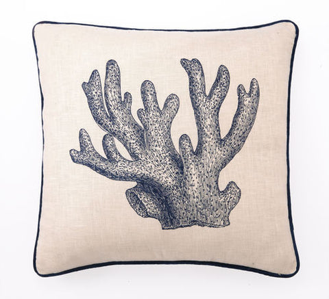 Embroidered Staghorn Coral Pillow